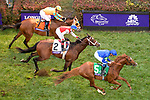 November 2, 2018: Line Of Duty #5, ridden by William Buick, wins the Juvenile Turf ahead of Uncle Benny #2, ridden by Irad Ortiz, Jr., and Somelikeithotbrown, ridden by Jose Ortiz, on Breeders' Cup World Championship Friday at Churchill Downs on November 2, 2018 in Louisville, Kentucky. John Voorhees/Eclipse Sportswire/CSM