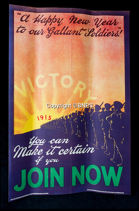 BNPS.co.uk.(01202 558833)<br /> Pic: PhilYeomans/BNPS<br /> <br /> Poignant poster from 1914 predicting victory in 1915.<br /> <br /> 100 year old time capsule from Xmas 1914 discovered.<br /> <br /> A time capsule box of Christmas gifts originally destined for First World War troops fighting in the trenches in 1914 is to be opened for the first time after it emerged for sale.<br /> <br /> X-rays have shown that the unremarkable brown cardboard box contains 81 brass tins containing gifts for front line soldiers sent from the Royal family.<br /> <br /> The brass tins held cigarettes, pencils made from shell casings, chocolate, sweets and even Christmas cards.<br /> <br /> They were made in their thousands then shipped off to soldiers fighting in the trenches over the first Christmas of the Great War.<br /> <br /> But one box never made it to its intended destination and is now up for sale 100 years on for almost &pound;30,000 after being discovered by a collector.<br /> <br /> It will be opened for the first time by Lady Emma Kitchener, great-grandniece of military leader Herbert Kitchener, at the Chalke Valley History Festival near Salisbury, Wilts.<br /> <br /> A select amount of tins will be sold at the festival for &pound;300 with the rest being auctioned at Onslows in Blandford, Dorset, on July 9.