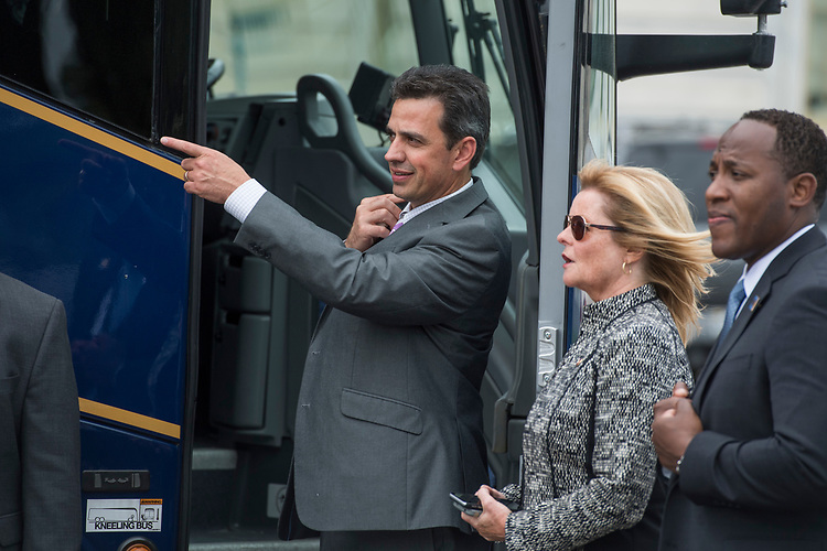 UNITED STATES - MAY 4: Rep. Tom Graves, R-Ga., boards a bus heading the White House on the East Front of the Capitol after the House passed the Republicans' bill to repeal and replace the Affordable Care Act on May 4, 2017. (Photo By Tom Williams/CQ Roll Call)