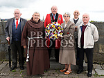 Mayor of Drogheda Frank Godfrey with Sr Anne Spratt, Br. Isadore, Chairperson of the Old Drogheda Society Donnchadha MacRaghnaill, Noel Bailey and Brendan Matthews at the wreath laying cermony at Millmount to celebrate Drogheda Day. Photo:Colin Bell/pressphotos.ie