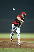 Carolina Mudcats relief pitcher Matt Hardy (25) in action against the Winston-Salem Dash at BB&T Ballpark on June 1, 2019 in Winston-Salem, North Carolina. The Dash defeated the Mudcats 5-4 in game two of a double header. (Brian Westerholt/Four Seam Images)