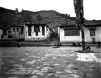 Prostrations in interior courtyard of Shigatse Tashilhunpo Monastery Tibet