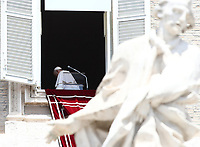 Pope Francis leaves after reciting the Sunday Angelus noon prayer from the window of his studio overlooking St.Peter's Square, at the Vatican, Sunday, June 7, 2020.<br /> UPDATE IMAGES PRESS/Isabella Bonotto<br /> <br /> STRICTLY ONLY FOR EDITORIAL USE