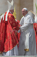 Secretary of State Pietro Parolin,Pope Francis during of the Palm Sunday celebration on St Peter's square at the Vatican.April 13,2014
