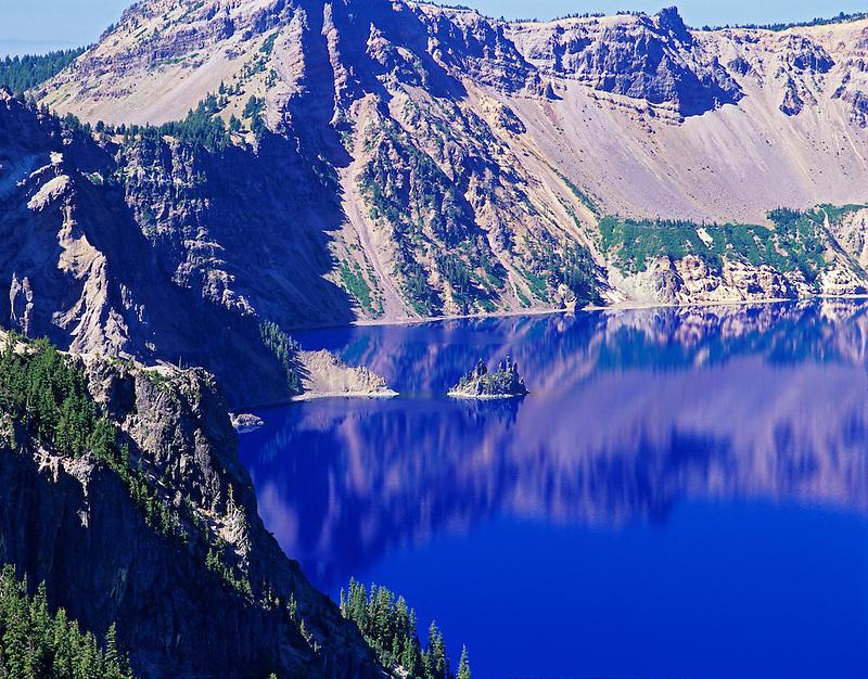 Crater Lake, Phantom Ship Island and calm water. Oregon.