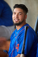 Midland RockHounds catcher Argenis Raga (8) in the dugout during a game against the Arkansas Travelers on May 25, 2017 at Dickey-Stephens Park in Little Rock, Arkansas.  Midland defeated Arkansas 8-1.  (Mike Janes/Four Seam Images)