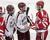 Scott Savage (BC - 28), Michael Matheson (BC - 5), Doyle Somerby (BU - 27) - The Boston College Eagles defeated the visiting Boston University Terriers 6-4 (EN) on Friday, January 17, 2014, at Kelley Rink in Conte Forum in Chestnut Hill, Massachusetts.