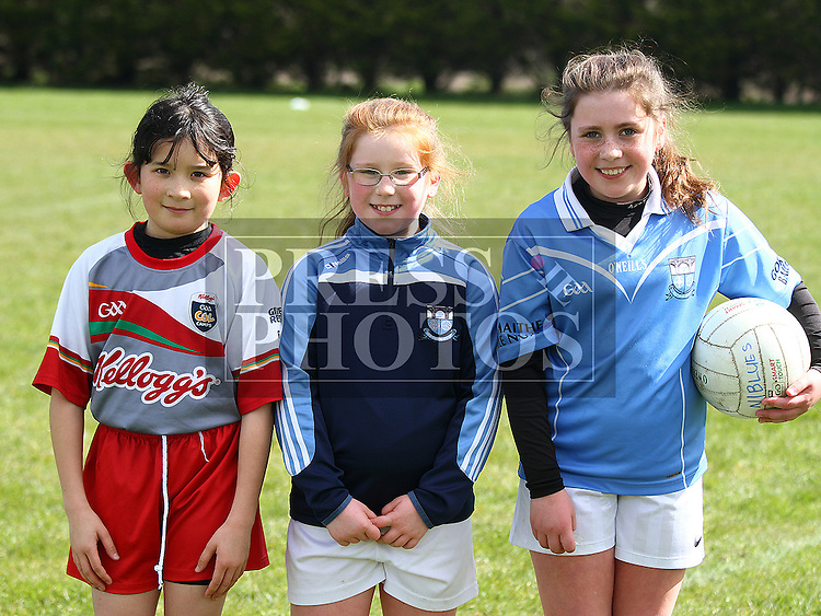 Roisin Smith, Aine O'Rourke and Hollie Stone at the Newtown Blues GAA Academy. Photo:Shane Maguire/pressphotos.ie