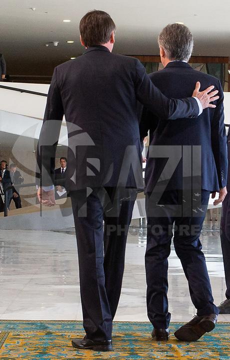 BRASILIA, DF, 16.01.2019 - BOLSONARO-MACRI-    O presidente da República, Jair Bolsonaro, durante a cerimônia oficial de chegada do presidente da República Argentina, Mauricio Macri, no Palácio do Planalto, nesta quarta, 16.(Foto:Ed Ferreira/Brazil Photo Press)