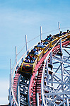 California: Santa Cruz.  The Big Dipper rollercoaster..Photo: cacruz102..Photo copyright Lee Foster, 510/549-2202, lee@fostertravel.com, www.fostertravel.com..Photo #: cacruz102