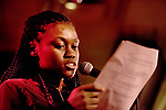 Ranauzia reads off trvia questions during MLK open mic night at Casa Nueva on Jan. 17, 2018. Photo by Meagan Hall