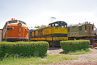 Diesel and electric locomotives at the Museo Nacional de los Ferrocarriles Mexicanos or National Railway Museum in the city of Puebla, Mexico