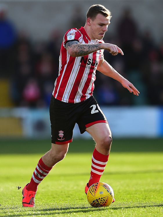 Lincoln City's Harry Anderson<br /> <br /> Photographer Andrew Vaughan/CameraSport<br /> <br /> The EFL Sky Bet League Two - Lincoln City v Northampton Town - Saturday 9th February 2019 - Sincil Bank - Lincoln<br /> <br /> World Copyright © 2019 CameraSport. All rights reserved. 43 Linden Ave. Countesthorpe. Leicester. England. LE8 5PG - Tel: +44 (0) 116 277 4147 - admin@camerasport.com - www.camerasport.com