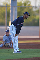 AZL Indians Red manager Jerry Owens (7) argues a call with umpire Larry Dillman Jr. (not pictured) during an Arizona League game against the AZL Padres 1 on June 23, 2019 at the Cleveland Indians Training Complex in Goodyear, Arizona. AZL Indians Red defeated the AZL Padres 1 3-2. (Zachary Lucy/Four Seam Images)