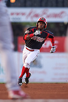 Batavia Muckdogs shortstop Anfernee Seymour (3) running the bases during a game against the Williamsport Crosscutters on August 27, 2015 at Dwyer Stadium in Batavia, New York.  Batavia defeated Williamsport 3-2.  (Mike Janes/Four Seam Images)