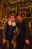 London, UK. 17 January 2015. L-R: Tom Stuart as Alonzo and Trystan Gravelle as Deflores. Photocall for The Changeling by Thomas Middleton & William Rowley at the Sam Wanamaker Playhouse/Globe Theatre, London, UK. The play is directed by Dominic Domgoole starring Hattie Morahan as Beatrice-Joanna and Trystan Gravelle as Deflores. Playing from 15 January to 1 March 2015. Photo: Bettina Strenske