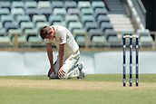 November 5th 2017, WACA Ground, Perth Australia; International cricket tour, Western Australia versus England, day 2; Jake Ball reacts to runs being scored off his bowling during his spell on day two