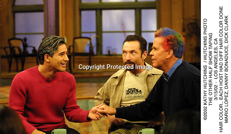 ©2002 KATHY HUTCHINS  / HUTCHINS PHOTO.THE OTHER HALF SHOW TAPING.3/15/02 -  LOS ANGELES, CA.HAIR COLOR.. EACH HOST HAD DIFF HAIR COLOR DONE.MARIO LOPEZ, DANNY BONADUCE, DICK CLARK