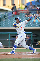 Johan Mieses (18) of the Rancho Cucamonga Quakes bats against the Lancaster JetHawks at The Hanger on April 19, 2016 in Lancaster, California. Rancho Cucamonga defeated Lancaster, 10-6. (Larry Goren/Four Seam Images)