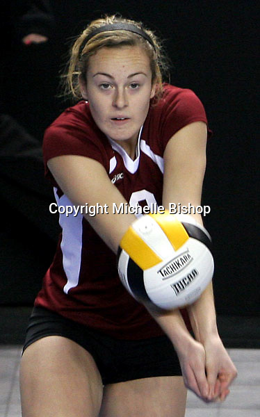 North Idaho College's Tarra Tymesen digs the ball during Friday's game against Northwest Shoals Community College at the 2008 National Junior College Athletic Association Division I National Championships held at the Mid-America Center in Council Bluffs, Iowa. (photo/Michelle Bishop).
