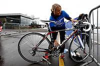 Photo: Richard Lane/Richard Lane Photography. GE Strathclyde Park Triathlon Media Event. 30/03/2011. Last year's elite women's winner, Jacqueline Slack demonstrates transition at the launch the event.