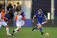 Luke McCormick of Chelsea bursts through the Montpellier defence during Chelsea Under-19 vs Montpellier HSC Under-19, UEFA Youth League Football at the Cobham Training Ground on 13th March 2019
