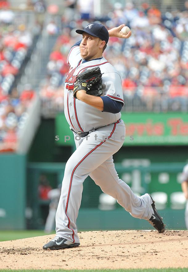 Atlanta Braves Aaron Harang (34) during a game against the Washington Nationals on September 10, 2014 at Nationals Park in Washington DC. The Braves beat the Nationals 6-2.