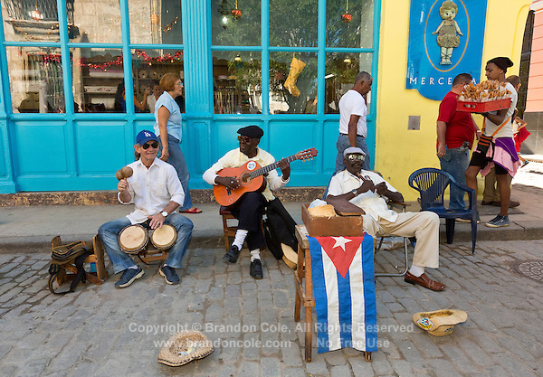TH0129-D. Music making in Old Havana (Habana Vieja in Spanish). Havana, Cuba.<br /> Photo Copyright &copy; Brandon Cole. All rights reserved worldwide.  www.brandoncole.com