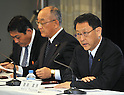 May 11th, 2011, Tokyo, Japan - Akio Toyoda, right, president of Toyota Motor Co., announces the company's earnings during a news conference at the automaker's head office in Tokyo on Wednesday, May 11, 2011. Toyota sustained damage totaling more than 100 billion yen from the March 11 earthquake and tsunami that devastated Japan's northeastern region. The world's largest carmaker posted a 77% drop in net profit for the January-to-March quarter due to production disruptions and the effects of the strong yen. (Photo by Natsuki Sakai/AFLO) [3615] -mis-.