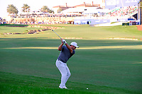 Francesco Molinari (ITA) on the 18th during the 2nd round of the DP World Tour Championship, Jumeirah Golf Estates, Dubai, United Arab Emirates. 22/11/2019<br /> Picture: Golffile | Fran Caffrey<br /> <br /> <br /> All photo usage must carry mandatory copyright credit (© Golffile | Fran Caffrey)