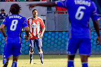 Chivas USA defender Michael Umana barks out directions to his teammates. The Kansas City Wizards defeated CD Chivas USA 2-0 at Home Depot Center stadium in Carson, California on Sunday September 19, 2010.