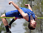 "Zack Pluff of Freeburg clears 6'6"" in the high jump at the Collinsville Invitational Boys Track & Field Meet on Saturday May 5, 2018. Tim Vizer 
