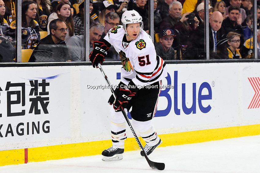 Friday, January 20, 2017: Chicago Blackhawks defenseman Brian Campbell (51) in game action during the National Hockey League game between the Chicago Blackhawks and the Boston Bruins held at TD Garden, in Boston, Mass. Chicago defeats Boston 1-0 in regulation time. Eric Canha/CSM