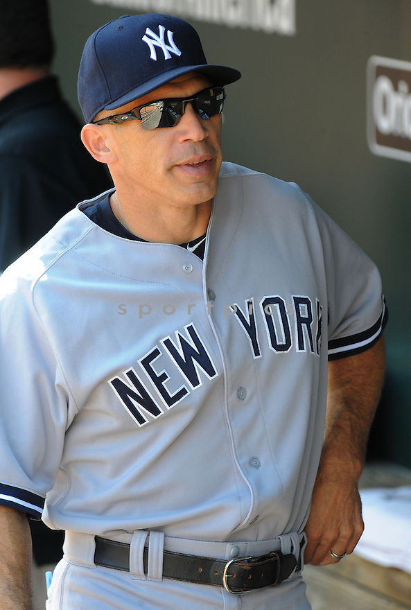 New York Yankees Joe Girardi (28) during a game against the Baltimore Orioles on September 12, 2014 at Orioles Park in Baltimore, MD. The Orioles beat the Yankees 2-1.