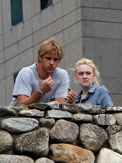 WWW.ACEPIXS.COM . . . . .  ....July 19 2012, New York City....Actors Boyd Holbrook and Dakota Fanning on the downtown set of the new movie 'Very Good Girls' on July 19 2012 in New York City....Please byline: Zelig Shaul - ACE PICTURES.... *** ***..Ace Pictures, Inc:  ..Philip Vaughan (212) 243-8787 or (646) 769 0430..e-mail: info@acepixs.com..web: http://www.acepixs.com