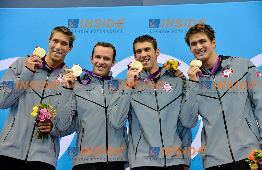 Left to right GREVERS Matthew HANSEN Brendan PHELPS Michael GREVERS Matthew USA (gold medal).Men 4x100 medley relay.Swimming Finals.London 2012 Olympics - Olimpiadi Londra 2012.day 09 Aug.4.Photo G.Scala/Deepbluemedia.eu/Insidefoto