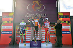 Brandon McNulty (USA) Rally UHC Cycling wins overall with Guillaume Martin (FRA) Wanty-Gobert Cycling Team 2nd and Fausto Masnada (ITA) Androni Giocattoli-Sidermec in 3rd place on the podium at the end of Stage 4 of Il Giro di Sicilia 2019 running 119km from Giardini Naxos to Mount Etna (Nicolosi), Italy. 6th April 2019.<br /> Picture: LaPresse/Massimo Paolone | Cyclefile<br /> <br /> All photos usage must carry mandatory copyright credit (&copy; Cyclefile | LaPresse/Massimo Paolone)