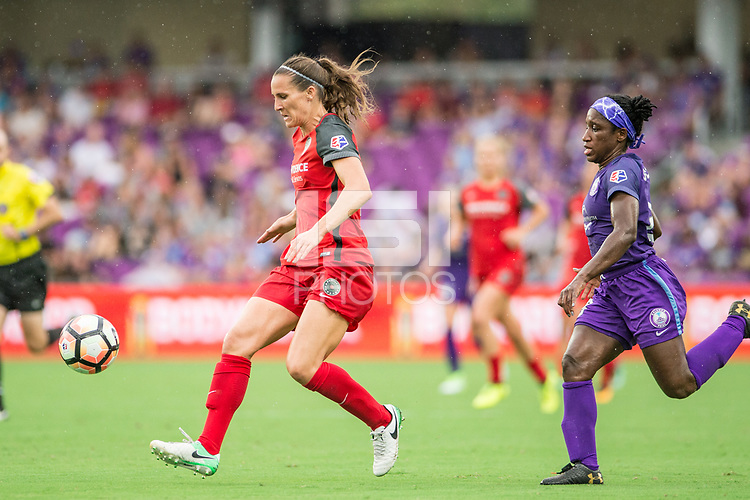 Orlando, FL - Saturday September 23, 2017: Katherine Reynolds, Jasmyne Spencer during a regular season National Women's Soccer League (NWSL) match between the Orlando Pride and the Portland Thorns FC at Orlando City Stadium.