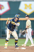 Michigan Wolverines outfielder Jesse Franklin (7) celebrates hitting a double against the Vanderbilt Commodores during Game 3 of the NCAA College World Series Finals on June 26, 2019 at TD Ameritrade Park in Omaha, Nebraska. Vanderbilt defeated Michigan 8-2 to win the National Championship. (Andrew Woolley/Four Seam Images)