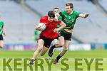 Gavin O'Grady Glenbeigh Glencar in action against Cathal McWilliams Rock Saint Patricks in the Junior Football All Ireland Final in Croke Park on Sunday.