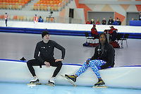 SPEEDSKATING: SOCHI: Adler Arena, 19-03-2013, Training, Shani Davis (USA), Tucker Fredricks (USA), © Martin de Jong