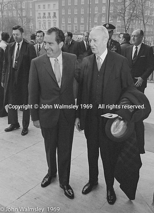 US President Richard M Nixon arrives at the US Embassy in Grosvenor Square, London.  27th February 1969.  He is seen here with David Bruce, US Ambassador to the UK, 1961-69.