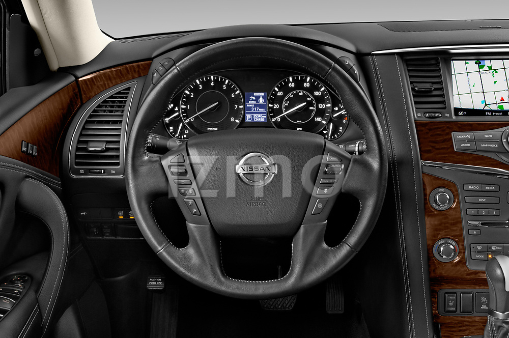 Car pictures of steering wheel view of a 2019 Nissan Armada SL 5 Door SUV