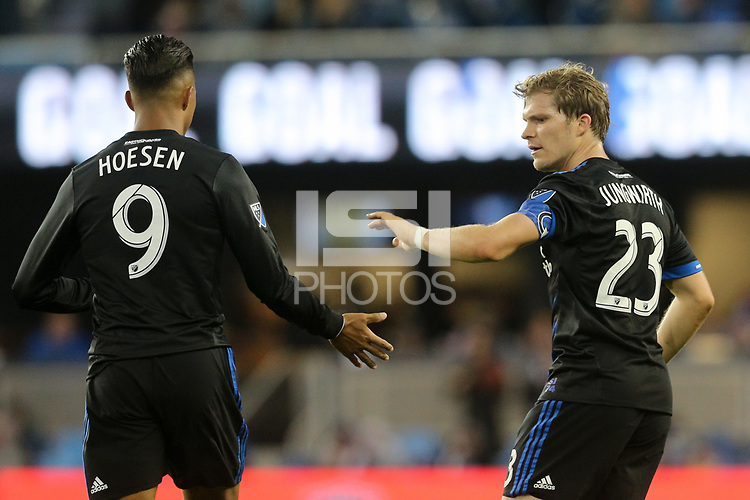 San Jose, CA - Saturday May 19, 2018: Danny Hoesen, Florian Jungwirth during a Major League Soccer (MLS) match between the San Jose Earthquakes and D.C. United at Avaya Stadium.