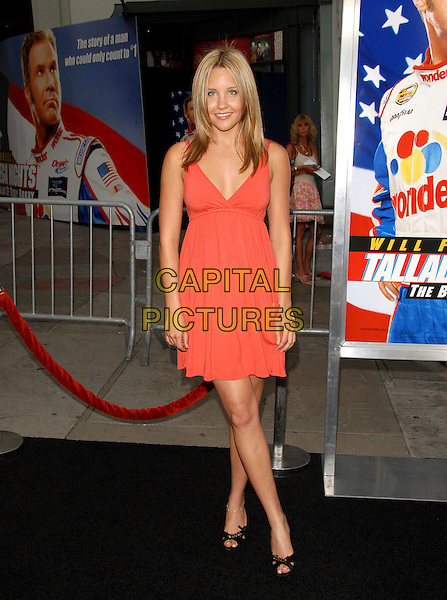 """AMANDA BYNES.World Premiere of """"Talladega Nights:The Ballad of Ricky Bobby"""" held at The Grauman's Chinese Theatre in Hollywood, California, USA..July 26th, 2006.Ref: DVS.full length orange dress coral peach .www.capitalpictures.com.sales@capitalpictures.com.©Debbie VanStory/Capital Pictures"""