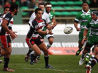 Counties first five Josh Hall passes during the Air NZ Cup rugby match between Manawatu Turbos and Counties-Manukau Steelers at FMG Stadium, Palmerston North, New Zealand on Sunday, 2 August 2009. Photo: Dave Lintott / lintottphoto.co.nz
