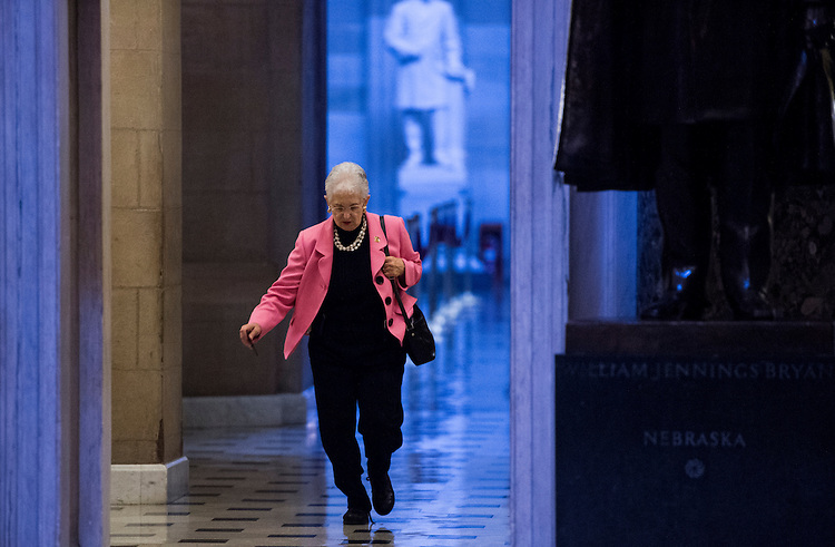 UNITED STATES - OCTOBER 10: Rep. Virginia Foxx, R-N.C., runs from the Rotunda through Statuary Hall for a vote on the House floor in the Capitol on Thursday, Oct. 10, 2013. (Photo By Bill Clark/CQ Roll Call)
