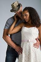 Western cowboy and black woman interracial themed Romance Novel cover stock photographs by Jenn LeBlanc for Illustrated Romance