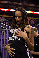 Jun. 10, 2013; Phoenix, AZ, USA: Phoenix Mercury center Brittney Griner jokes with teammates during a team practice at the US Airways Center. Mandatory Credit: Mark J. Rebilas-