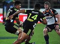 Ardie Savea looks to pass to Vince Aso during the Super Rugby match between the Hurricanes and Brumbies at CET Arena in Palmerston North, New Zealand on Friday, 1 March 2019. Photo: Dave Lintott / lintottphoto.co.nz